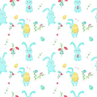 Vector naadloos patroon met leuke pasen-konijnen