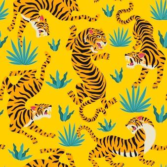 Vector naadloos patroon met leuke tijgers op achtergrond.