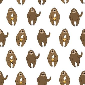 Vector naadloos patroon met luiaarden