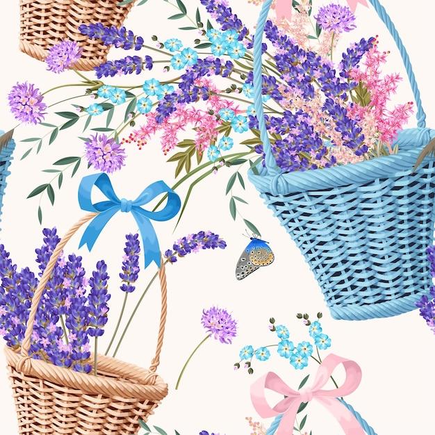 Vector naadloos patroon met manden en bloemen