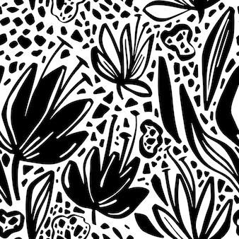 Vector naadloos patroon met minimalistic bloemenmotief.