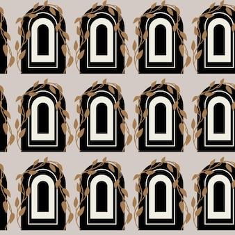 Vector naadloos patroon met moderne boog eigentijdse bouw boheemse esthetische abstract