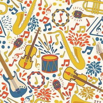 Vector naadloos patroon met muziekinstrumenten.