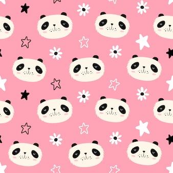 Vector naadloos patroon met panda's