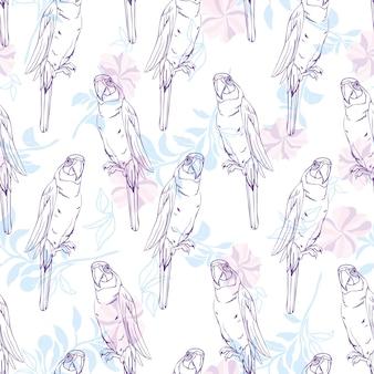 Vector naadloos patroon met papegaai