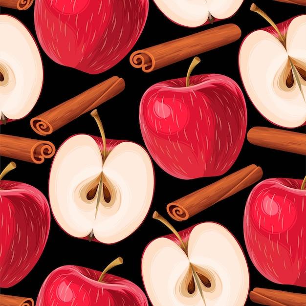 Vector naadloos patroon met rode appels en kruiden
