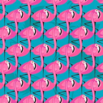 Vector naadloos patroon met roze flamingo's op blauwe achtergrond