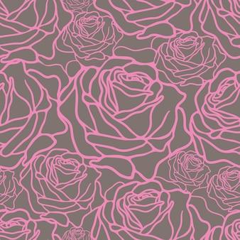 Vector naadloos patroon met roze rozen op grijze achtergrond