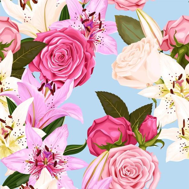 Vector naadloos patroon met rozen en lelies