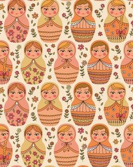 Vector naadloos patroon met russische pop - matrioshka