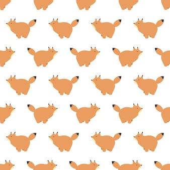 Vector naadloos patroon met schattige cartoon vossen.