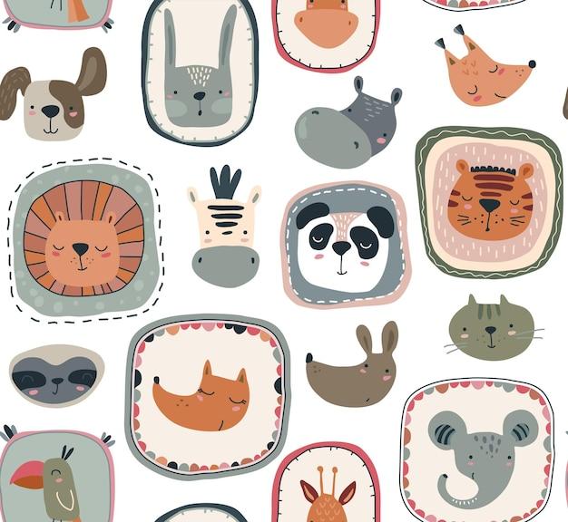 Vector naadloos patroon met schattige dierengezichten in kaders eenvoudige scandinavische stijl