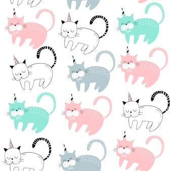 Vector naadloos patroon met schattige katten. scandinavische motieven.