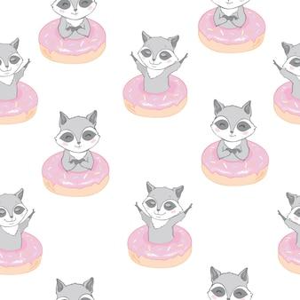 Vector naadloos patroon met schattige wasbeer, donuts en lollys
