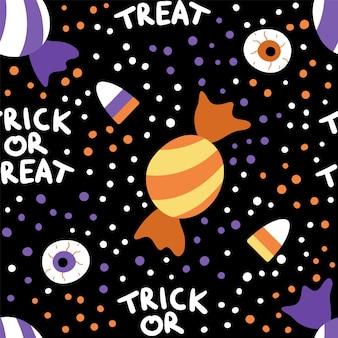 Vector naadloos patroon met snoep voor trick or treat-spel. traditionele halloween-feestvoedselachtergrond. digitaal papier met eng gestreept paars en oranje snoep.