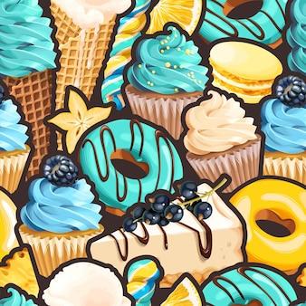 Vector naadloos patroon met snoep