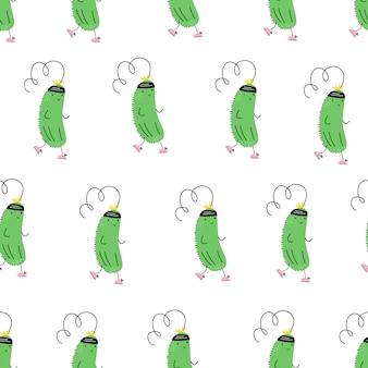 Vector naadloos patroon met sportkomkommer. joggen. emoji