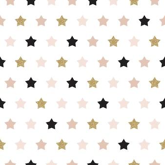 Vector naadloos patroon met sterren van roze, goud en zwart. glanzende sprankelende achtergrond met glitter