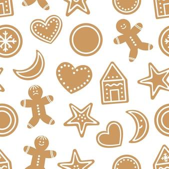 Vector naadloos patroon met traditionele kerstkoekjes. leuke grappige herhalende achtergrond met peperkoek. digitaal papier met feestelijke winterkoekjes.