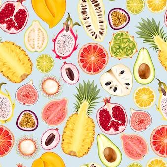 Vector naadloos patroon met tropische vruchtenplakken