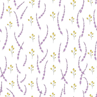 Vector naadloos patroon met tuinbloemen en kruiden.