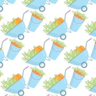 Vector naadloos patroon met tuinkruiwagen met groenten en wortelemmers