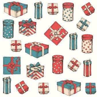 Vector naadloos patroon met veelkleurige geschenken en pakketten