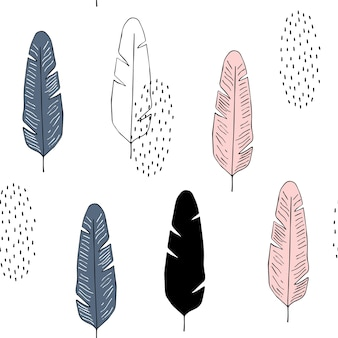Vector naadloos patroon met veren in skandinavische stijl