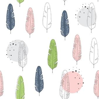Vector naadloos patroon met veren in skandinavische stijl.