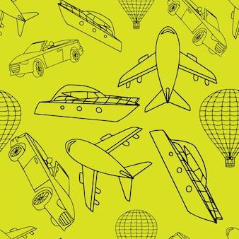 Vector naadloos patroon met vervoer.