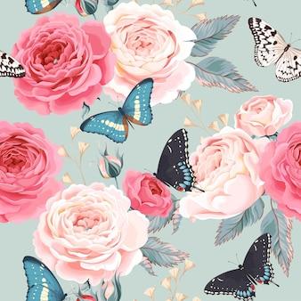 Vector naadloos patroon met vintage rozen en vlinder
