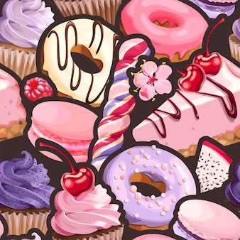 Vector naadloos patroon met violette en roze snoepjes