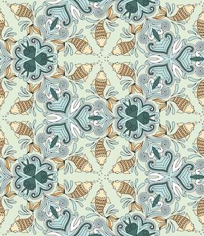 Vector naadloos patroon met vissen. caleidoscoop