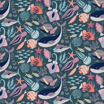 Vector naadloos patroon met vissen en zeedieren