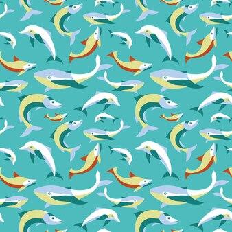 Vector naadloos patroon met vissen in vlakke retro stijl - abstracte achtergrond voor ontwerp
