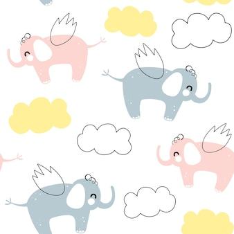 Vector naadloos patroon met vliegende olifant. scandinavische motieven. baby print.