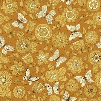 Vector naadloos patroon met vlinders die over de bloemen vliegen