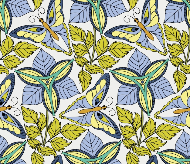 Vector naadloos patroon met vlinders en bloemen