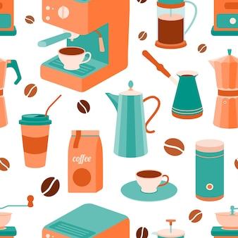 Vector naadloos patroon met voorwerpen voor het maken van koffie