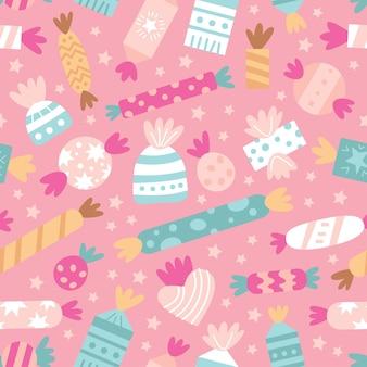 Vector naadloos patroon met zoet suikergoed en koekje