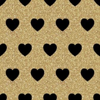 Vector naadloos patroon met zwarte harten op gouden textuur. glanzende sprankelende achtergrond met glitter