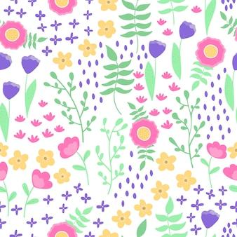 Vector naadloos patroon, mooie fantasie abstracte bloemen en planten op witte achtergrond. scandinavische stijl, pastelkleuren.