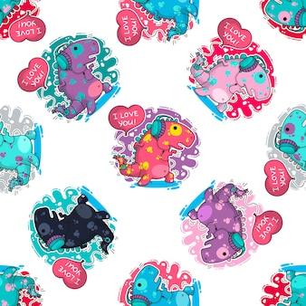 Vector naadloos patroon over dinozaur in liefde