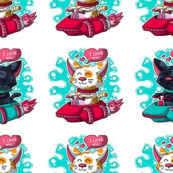Vector naadloos patroon over katten in liefde