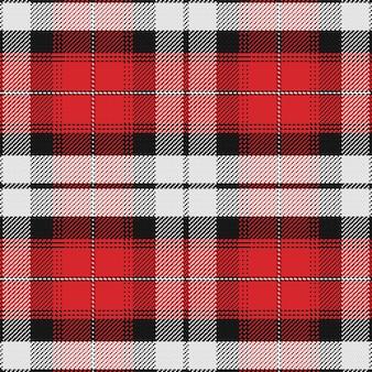 Vector naadloos patroon schots geruit schots wollen stof, zwart, wit, rood