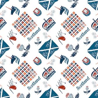 Vector naadloos patroon scotish-symbolen op witte achtergrond