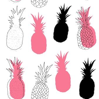 Vector naadloos patroon van ananas.