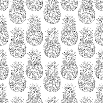 Vector naadloos patroon van ananas