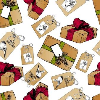 Vector naadloos patroon van cadeau dozen en badges voor kerstmis. hand getekend vintage kunst. craft paper diy presenteert.