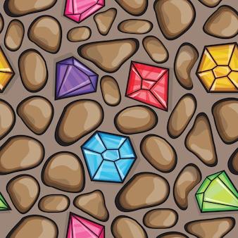 Vector naadloos patroon van diamanten in verschillende kleuren en rotsstenen
